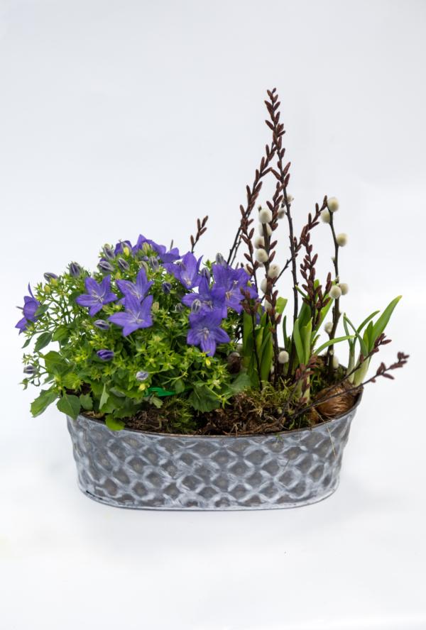 Dekorative Metall-Jardiniere mit Blühern der Saison.